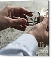 Cleaning Her Eyeglasses Canvas Print