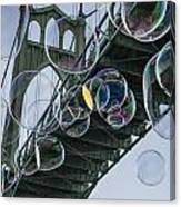 Cleaning The Bridge With Bubbles Canvas Print