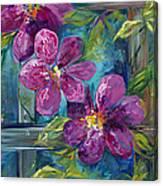 Clematis Turquoise Garden Canvas Print