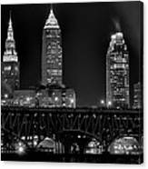 Cleveland Black And White Night Canvas Print