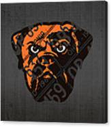 Cleveland Browns Football Team Retro Logo Ohio License Plate Art Canvas Print