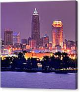 Cleveland Skyline At Night Evening Panorama Canvas Print