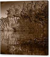 Cliff Face Northshore Mn Bw Canvas Print
