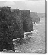 Cliff Of Moher Ireland Bw Canvas Print