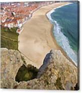 Cliff Of The Seaside Village Of Nazare Canvas Print