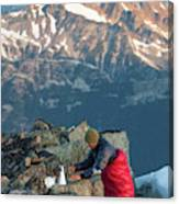 Climber Lights His Ultralight Stove Canvas Print