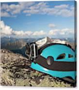 Climbing Helmet With Camera On Mountain Canvas Print