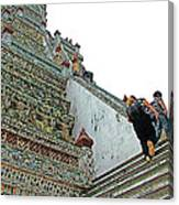 Climbing Many Steps At Temple Of The Dawn-wat Arun In Bangkok-th Canvas Print