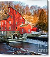 Clinton Mill In Winter Canvas Print