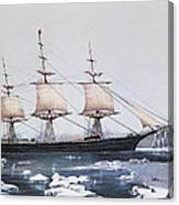 Clipper Ship Red Jacket In The Ice Off Cape Horn On Her Passage From Australia To Liverpool Canvas Print