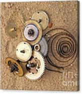 Clockwork Mechanism On The Sand Canvas Print