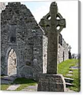 Clonmacnoise Cathedral  And High Cross Ireland Canvas Print