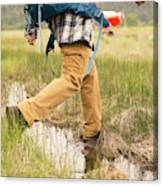 Close-up Of A Male Hiker Canvas Print