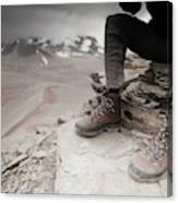 Close Up Of A Mountaineers Windblown Canvas Print