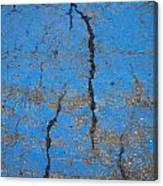 Close Up Of Cracks On A Blue Painted Canvas Print
