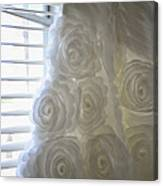 Close-up Of Flower Wedding Dress Canvas Print