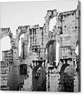 Close Up Of Remains Of Upper Deck In The Old Roman Collosseum At El Jem Tunisia Canvas Print