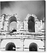 Close Up Of The Top Of The Old Roman Colloseum Against Blue Cloudy Sky El Jem Tunisia Canvas Print