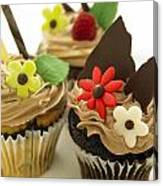 Close-up Of Three Chocolate Cupcakes Canvas Print