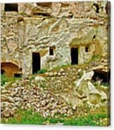Close-up Of Tufa-carved Homes In Cappadocia-turkey Canvas Print