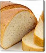 Close-up Of White Bread With Slices Canvas Print