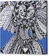 Close Up Owl Blue Canvas Print