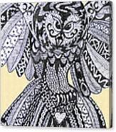 Close Up Owl Cream Canvas Print