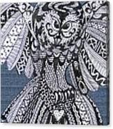 Close Up Owl Denim Canvas Print