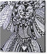 Close Up Owl Grey Canvas Print