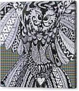 Close Up Owl Tartan Canvas Print