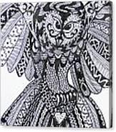 Close Up Owl White Canvas Print