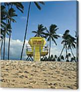 Closed Lifeguard Shack On A Deserted Tropical Beach With Palm Tr Canvas Print