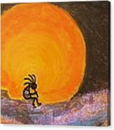 Closer View Kokopelli On A Marmalade Moon Night Canvas Print