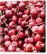 Closeup Of Fresh Cherries Canvas Print