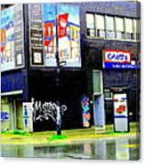 Closing Time Montreal Factory Glatts Produits Quebec Meats Graffiti Art City Scenes Carole Spandau Canvas Print