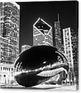 Cloud Gate Chicago Bean Black And White Picture Canvas Print