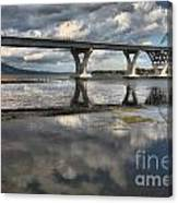 Clouds And Reflections Over Lake Champlain Canvas Print