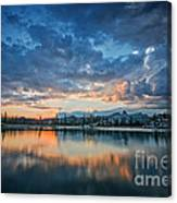 Clouds At Lower Sunset Lake Canvas Print