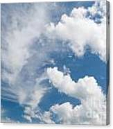 White Cirrus And Cumulus Clouds Formation Mix Canvas Print