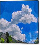 Clouds Loving A Friendly Mountain Landscape Painting Canvas Print