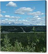 Clouds Mountains And Trees Canvas Print
