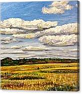 Clouds Over Marsh In Wells Maine Canvas Print