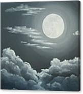 Clouds Under A Full Moon Canvas Print