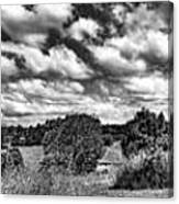 Cloudy Countryside Collage - Black And White Canvas Print