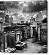 Cloudy Day At St. Louis Cemetery In Black And White Canvas Print