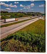 Clover Leaf Exit Ramps On Highway Near City Canvas Print