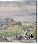 Coast Scene With Children In The Foreground, 19th Century Canvas Print