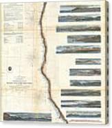 Coast Survey Chart Or Map Of California And Oregan North Of San Francisco Canvas Print