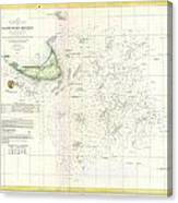 Coast Survey Nautical Chart Or Map Of Nantucket Massachusetts Canvas Print