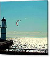 Coast To Coast Sea To Sky Flies Curiosity Crescent Kite Night Scenes On The Canal Carole Spandau Canvas Print